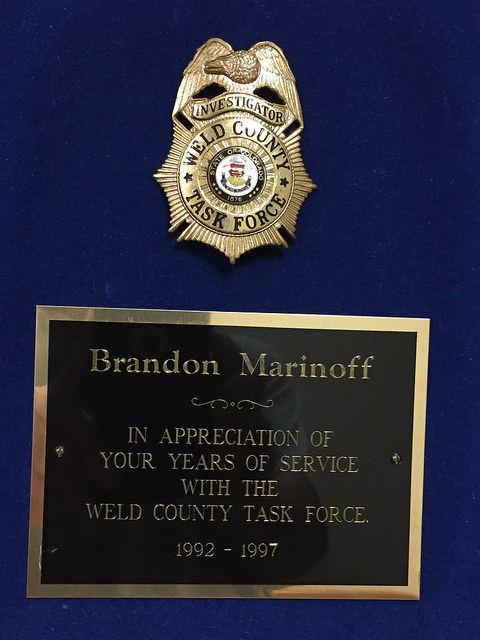 Brandon Marinoff – In Appreciation of Your Years of Service With The Weld County Task Force #TBT